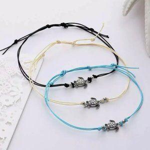 @mrscjf Black Turtle Charm Cord Anklet Ankle Bracelet